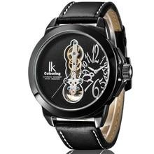 IK Мужчины Большой Случае Часы С Турбийоном Черный Кожаный Ремешок Черная Роза Белый Циферблат Автоматическая Новый Дизайн Наручные Часы