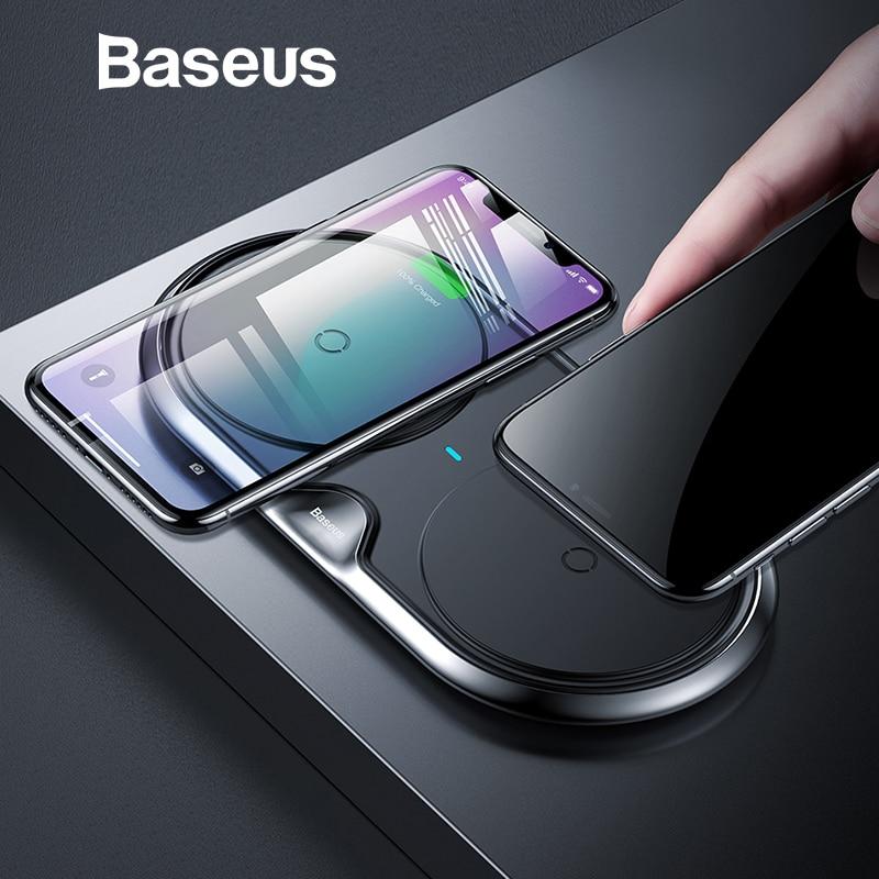 Baseus Metallo Doppio Caricatore Senza Fili Per iPhone Xs Xs Max XR Desktop Veloce di Ricarica Wireless Pad Caricabatterie per il Samsung Note9 s9