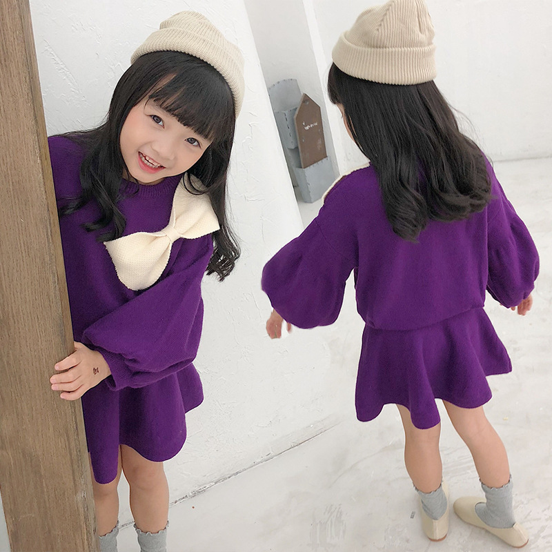 Girls Winter Clothing Sets Baby Girls Knit Sets Big Girls Sweaters Tops with Big Bow+skirts Knitted Suits Girls Clothing CA218