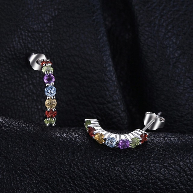 JewelryPalace Multicolor Natural Amethyst Citrine Garnet Peridot Blue Topaz Earrings Stud 925 Sterling Silver Fine Jewelry