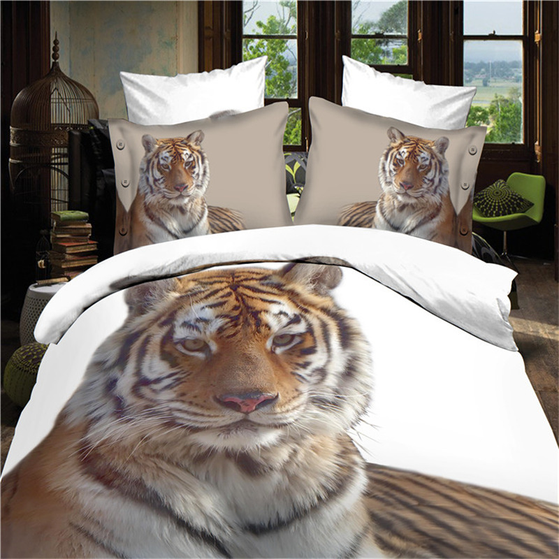 3D Bedding Sets 4pcs Sets Tiger Bedding Duvet Cover Set