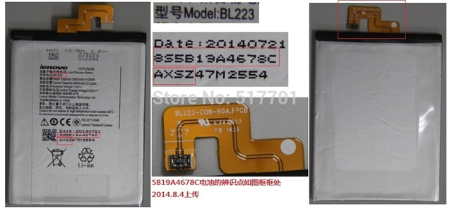 Free shipping high quality mobile phone battery BL223 for Lenovo K920 K7 with good quality and best price