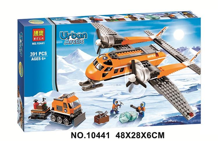 Free Shipping Bela 391Pcs City Arctic Supply Plane Model Buildinlg Kits Blocks Brick font b Toy