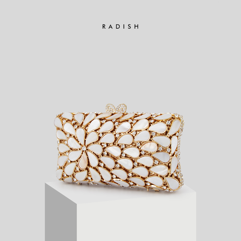 RADISH Hollow Out Natural Shell & Crystal Women Floral Appliques Handbags  Evening  Bags Bridal  Flower Wedding BagRADISH Hollow Out Natural Shell & Crystal Women Floral Appliques Handbags  Evening  Bags Bridal  Flower Wedding Bag