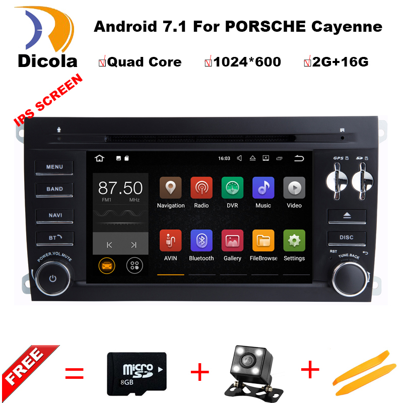 1024*600 Quad Core 7'' Android 7.1 Car DVD Player for Porsche Cayenne 2003 2010 With Bluetooth Head unit Radio RDS Wifi 4G/DAB+