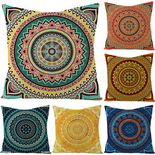 Bohemian Mandara Style Flax Pillow Cover Hotel Furniture Features Pillow Cover Square Pillow Cover vintage style birds pattern square shape flax pillowcase without pillow inner
