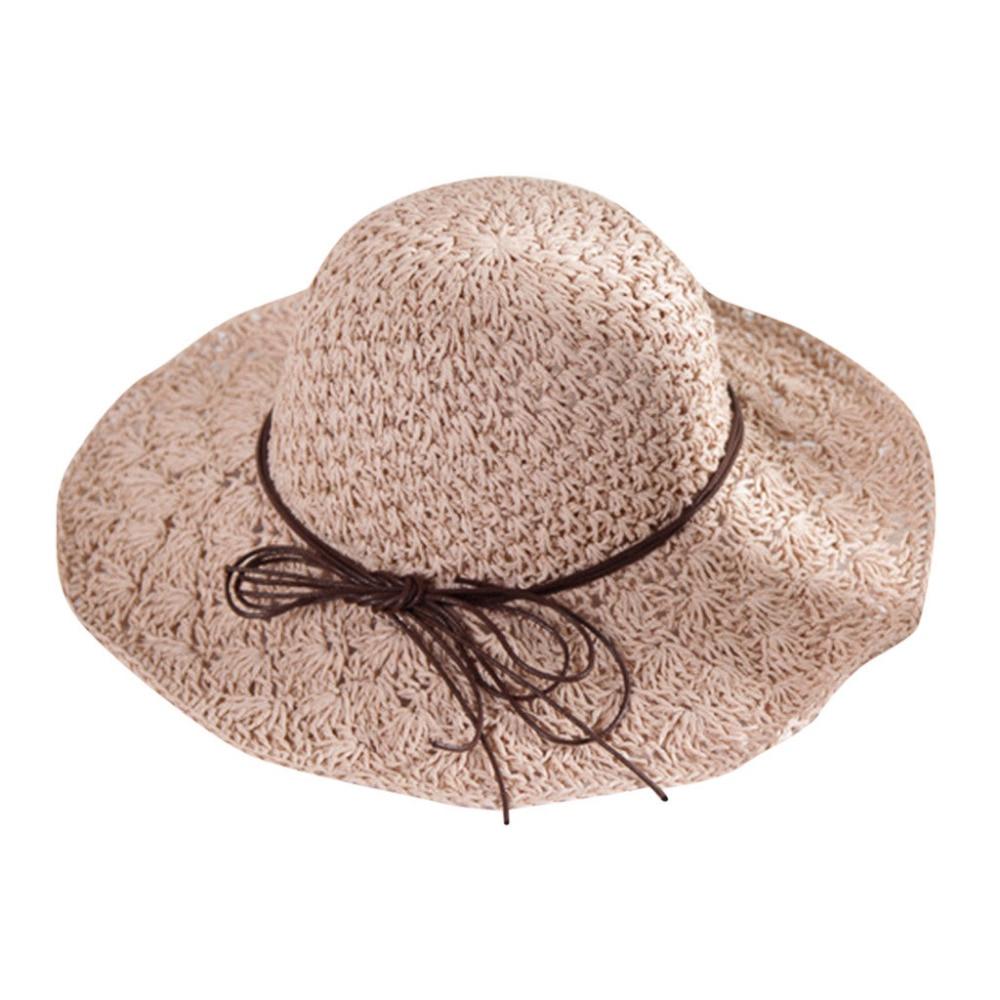 2019 summer sexy women\`s bow grass beach hat striped hood foldable rolled pretty beach hat seaside sports beach hat girl 40J5 (2)