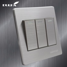 цена на Luxury Satin Metal 3 Gang 2 Way Light Wall Switch 10A 110~250V 220V Electrical Push Button Lamp Switches Stainless steel Panel
