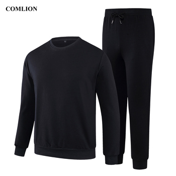 Men New Clothes Winter Autumn Cotton Outfits Pullover Tops Knit Drawstring Pants Sets Solid Color Male Casual Two-Pieces Suit 77