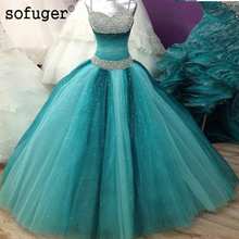 Green Puffy Cheap Quinceanera Dresses Spaghetti Straps Tulle Beaded Beadings Party Sweetheart