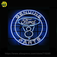 17 14 GENUINE FORD PARTS NEON SIGN Signboard REAL GLASS BEER BAR PUB Billiards Display Restaurant