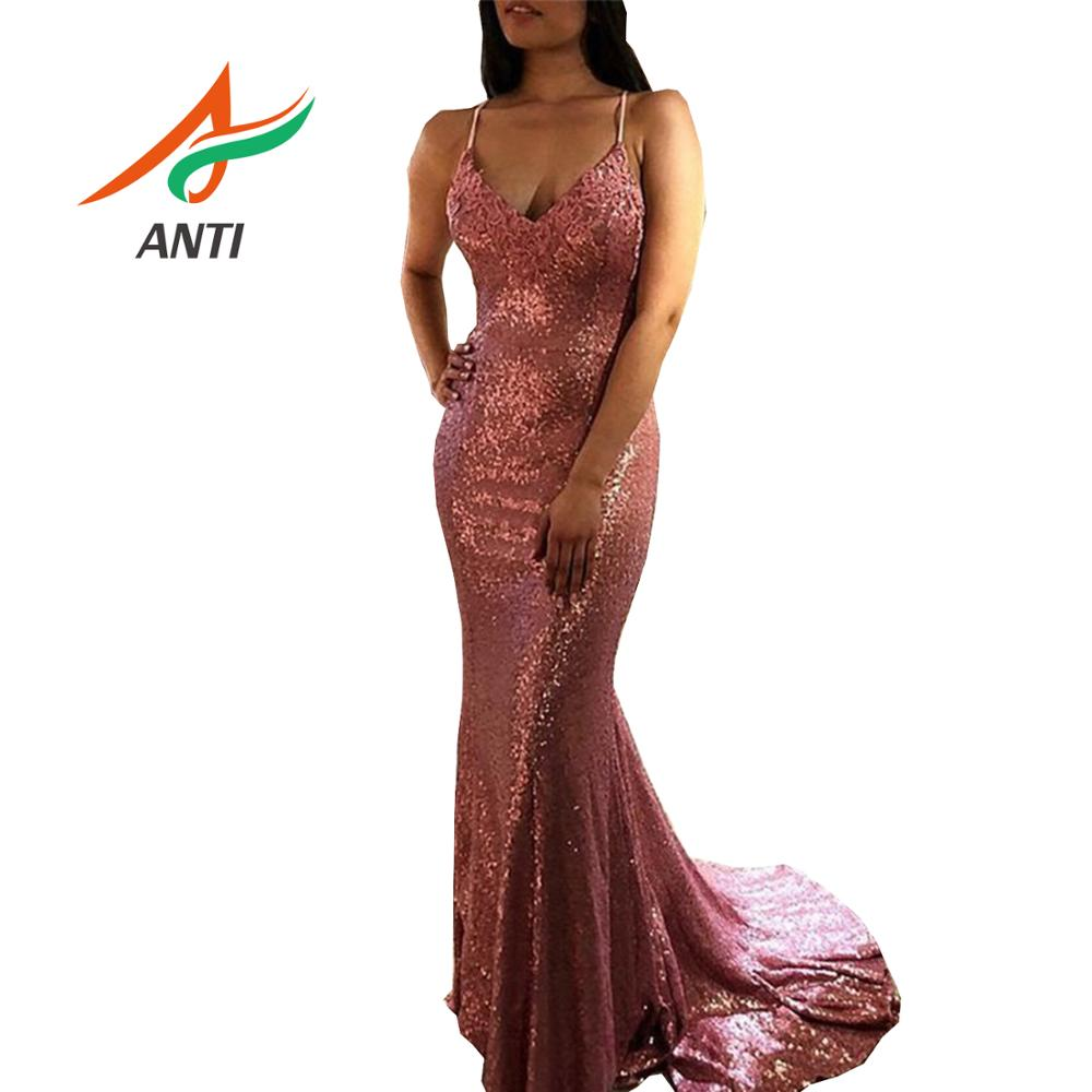 ANTI Bling Sequined Pink Sexy   Prom     Dress   2019 V Neck Spaghetti Strap Backless Long Mermaid   Prom   Gowns Plus Size vestidos de gala