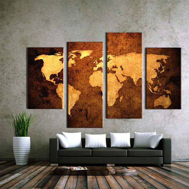4 PCS Abstract Old World Map Painting Modern home decor Canvas Print ...
