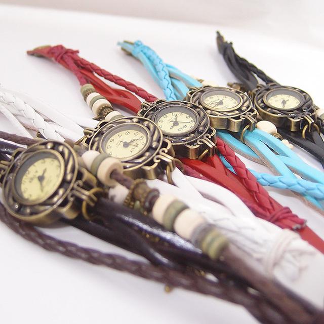 Leather Vintage ladies fashion Quartz watch women Owl Pendant hours Bead Bracelet wristwatch 164Y3