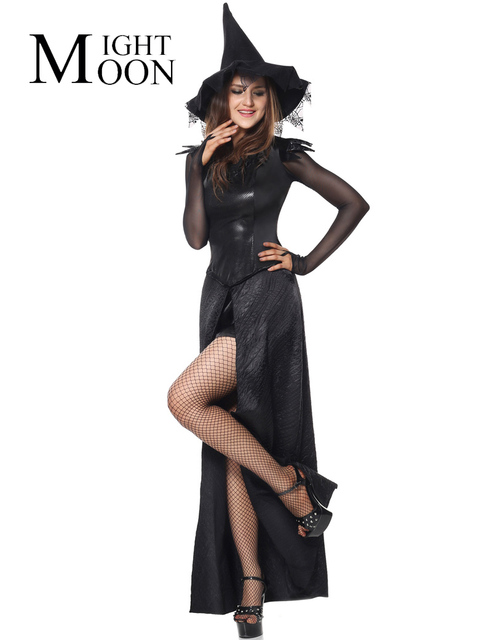 4c3f05219db MOONIGHT Ecstasy Black Halloween Costume Fancy Dress Sexy Witch Halloween  Costume Adult Womens Magic Moment Costume