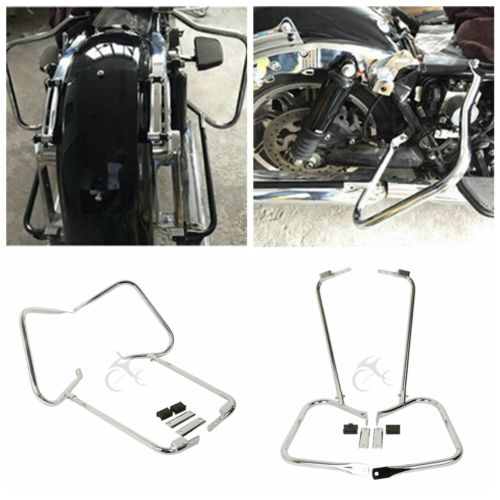 Saddlebag Bracket Guard W/ Support Bar For Harley Touring Electra Road Glide Classic FLHT FLHR FLHTC FLTRU FLTRX FLTRUSE 97-08 saddlebag bracket guard w support bar for harley touring electra road glide classic flht flhr flhtc fltru fltrx fltruse 97 08