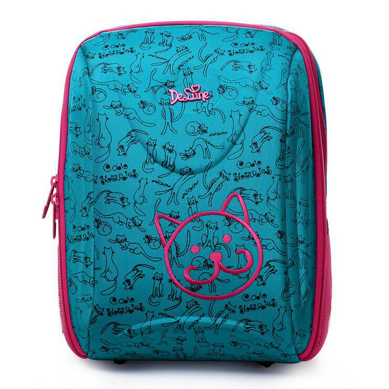 Delune Brand Children School Bag Student backpack bear Print Orthopedic Embossed Girls backpack 3-5 class students high quality bear print nightdress