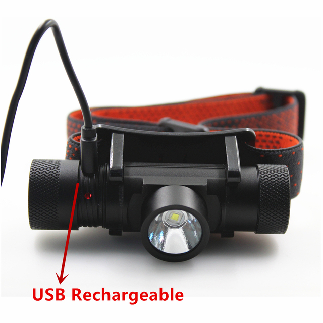NEW  XML T6 USB Rechargeable headlamp Headlights headlight 18650 head lamp for camping led flashlight