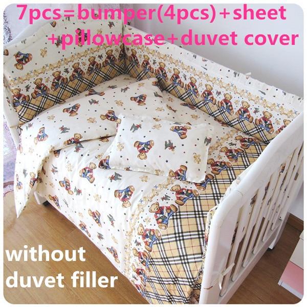Promotion! 6/7PCS baby bedding set baby crib bedding sets cartoon baby nursery bedding , 120*60/120*70cm