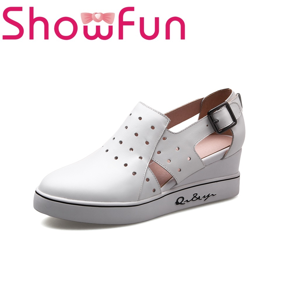 Showfun genuine leather shoes woman casual wedges heels pumps showfun 2018 genuine leather retro faux