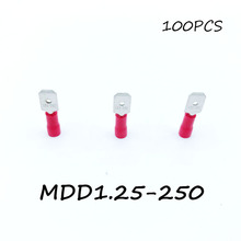 Insulated Male Disconnector MDD1.25-250 100PCS/Pack Red Spade Quick Electrical Connector Crimp Wire Terminal AWG Terminator