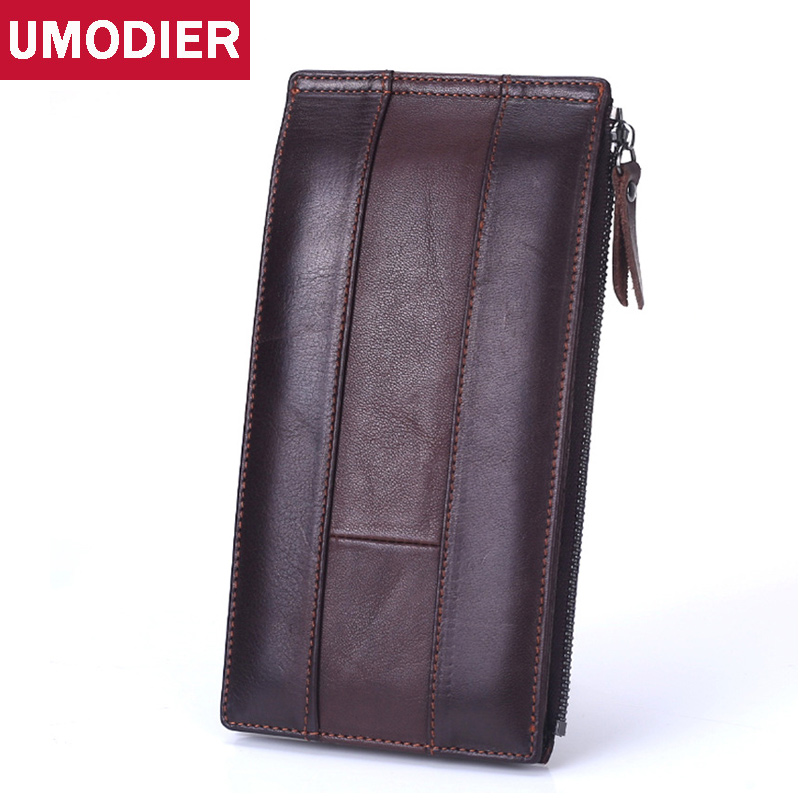 Umodier Small mens wallet leather genuine Card holder Long Clutch PORTFOLIO Fame Compact Cash Double Coin Purse Pockets