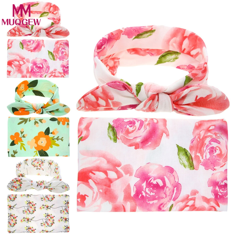 Baby Newborn Swaddled Set Swaddle & headwrap Infant Photography Props Cloth Towels Wrap Swaddle Blanket Girls Hair Accessories pink floral towels