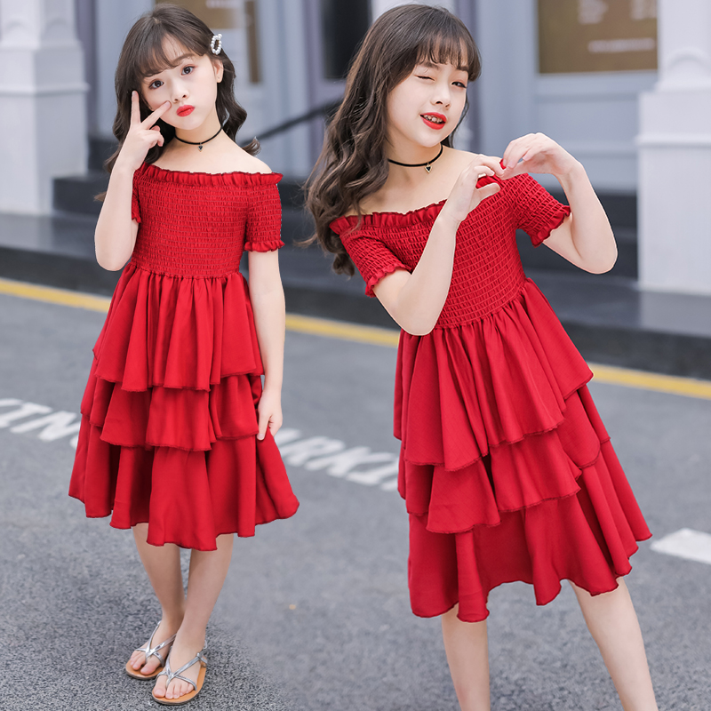 Image 2 - girls summer dress red cake tiered chiffon kids party dresses for girls birthday short sleeve 4 6 8 10 12 Y children clothesDresses   -