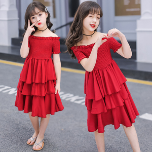 Image 2 - girls summer dress red cake tiered chiffon kids party dresses for girls birthday short sleeve 4 6 8 10 12 Y children clothes