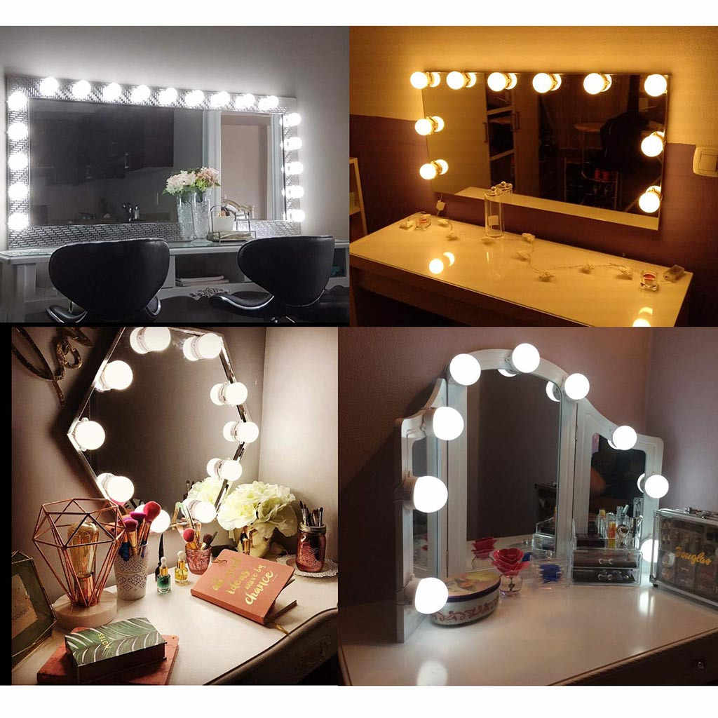 Professional Touch Stepless Dimming Diy 10led Vanity Makeup Mirror Lights Bulbs Kit Hollywood Make Up Mirror Cosmetic Lights Lighting Strings Aliexpress