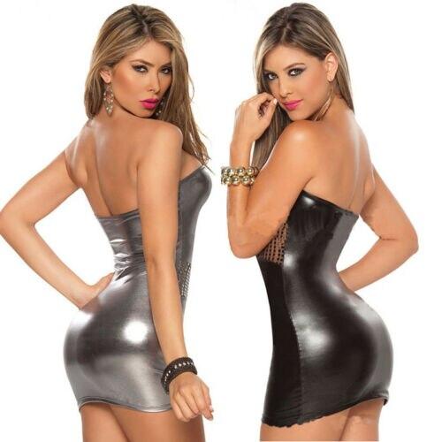 Robe de club Sexy pour femmes avec poitrine enveloppée de simili cuir et collants laqués Perspective robe fesse dos nu à poitrine basse 4