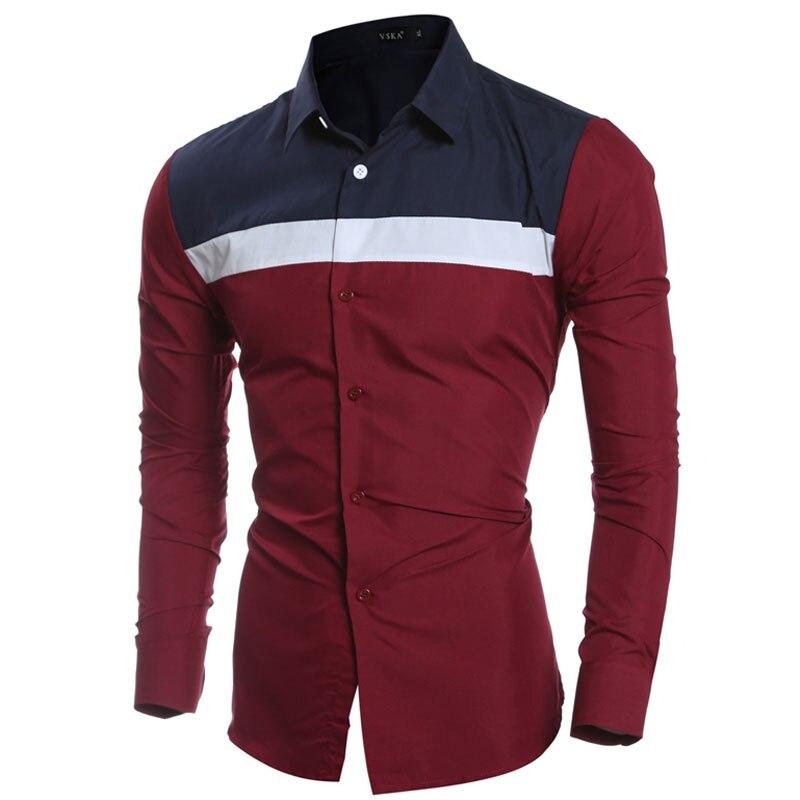 Moda Personalizado 3 cor Patchwork Mens Camisas de Vestido manga Comprida Casual  Slim Fit Camisas Sociais edf2809e25