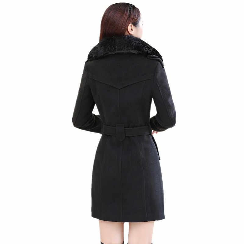 Harajuku Long Winter Coat Women Wool Coat Korean Plus Size Warm Red /black Double Breasted Windbreaker Elegant Womens Coats 5XL