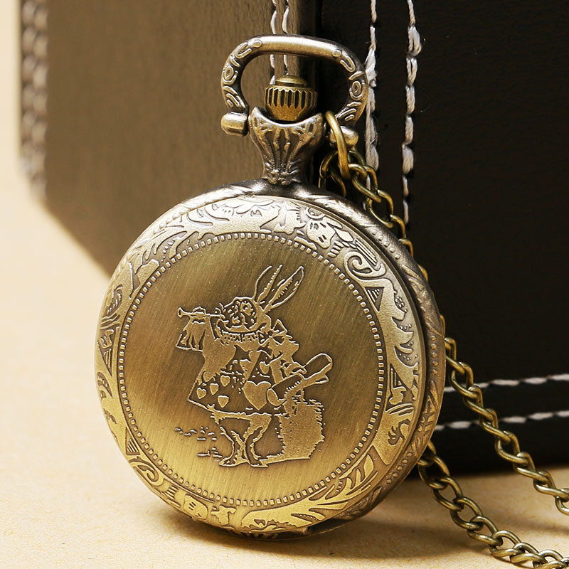 Vintage Retro Lovely Alice In The Wonderland Cute Rabbit Quartz Pocket Watch Women Lady Girls Necklace Clock Birthday Gifts