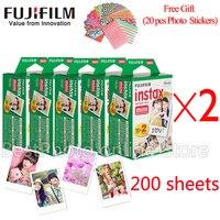 Fujifilm Fuji instax mini 8 пленка 200 листов instsnt фото + Бесплатный подарок фото наклейки для mini 8 7 s 25 50 s 90 мгновенная камера бумага