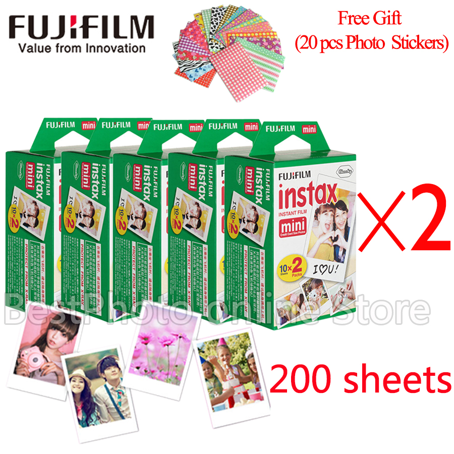 Fujifilm Fuji instax mini 8 film 200 sheets instsnt photo +Free Gift Photo Stickers for mini 8 7s 25 50s 90 Instant Camera Paper new 5 colors fujifilm instax mini 9 instant camera 100 photos fuji instant mini 8 film
