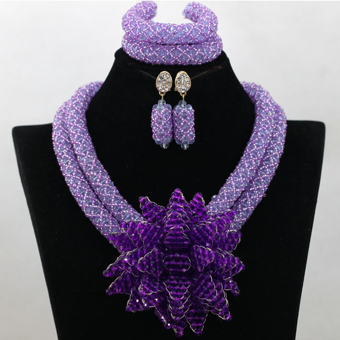 √Fashion African Wedding Beads Jewelry Set Lilac Purple Crystal ...