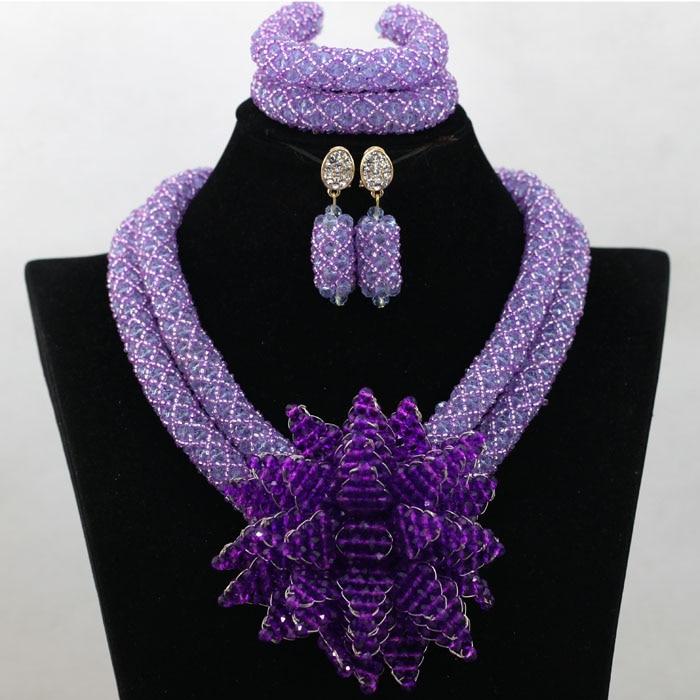 Fashion African Wedding Beads Jewelry Set Lilac Purple Crystal ...