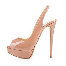 Amourplato Frauen Peep Toe Plateau Sandalen Slip On Stiletto High Heel Slingback Party Kleid Schuhe