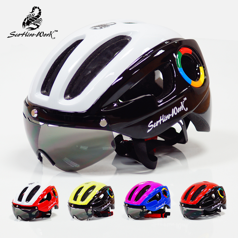 270g ultralight EPS bicycle helmet for men road mtb mountain bike helmet lenses goggles cycling equipment 9 vents Casco Ciclismo indola profession pcc red
