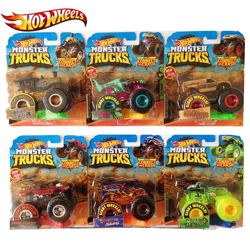Hotwheels 1: 64 Mainan Mobil Truk Rakasa Bermacam-macam Logam Mobil Mainan Kekasih Koleksi FYJ44 Singel Paket Ban Besar Roda Panas Hadiah