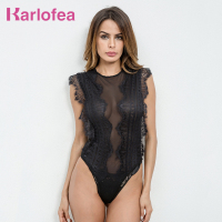 Karlofea Fashion Woman Lace Jumpsuit Sheer Hollow Out Casual Office Spandex Bodysuit One Piece Jumpsuit Spring