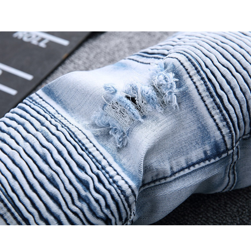 2017 Mens Skinny Jean Ripped Jeans Plus Size 28-42