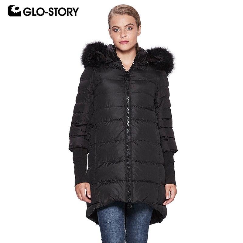 GLO-STORY 2018 Fashion Casual Women Winter Coat Splice Sleeve   Parka   with Fur Hooded Jacket Coat Female WMA-6569