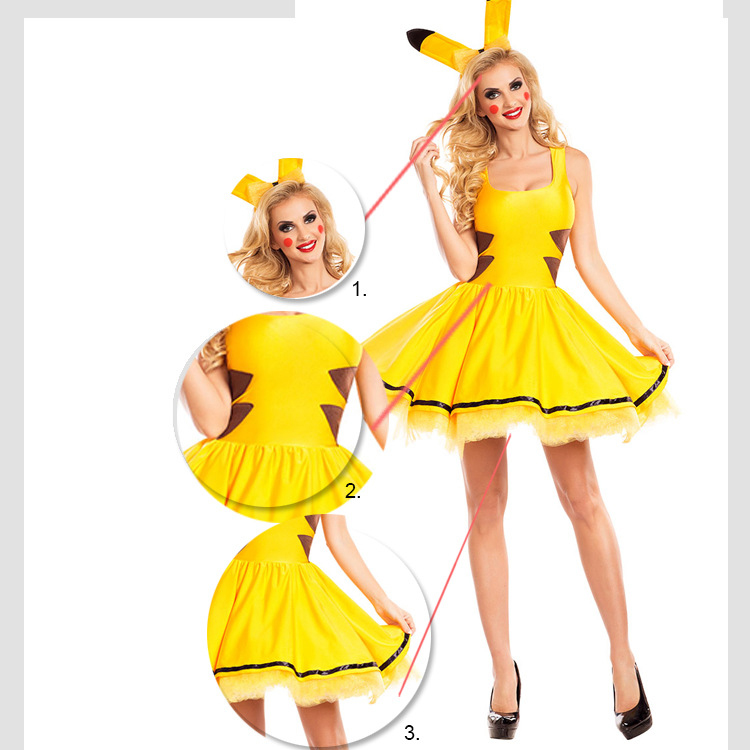 online shop pokemon pikachu women adult sexy halloween costume fancy party yellow cartoon new cosplay costume aliexpress mobile - Pikachu Halloween Costume Women