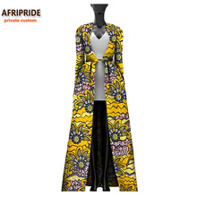 2017 Autumn african women long coat AFRIPRIDE private custom full sleeve ankle length coat plus size super wax cotton A722407