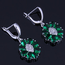 Lovely Oval Green Cubic Zirconia White CZ 925 Sterling Silver Drop Dangle Earrings For Women V0759 extremely attractive dangling earring blue green and clear oval cut stones of cubic zirconia big round dangle pendant earrings