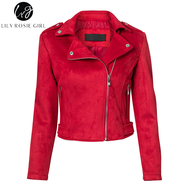 Lily Rosie Girl Casual Zipper Suede Leather Jacket Short Coas
