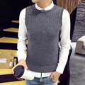Autumn Winter Men's Clothes Sleeveless Sweaters Men Japan Style Slim Fit Casual Knitted Pullover Male O Neck Solid Mens Vest