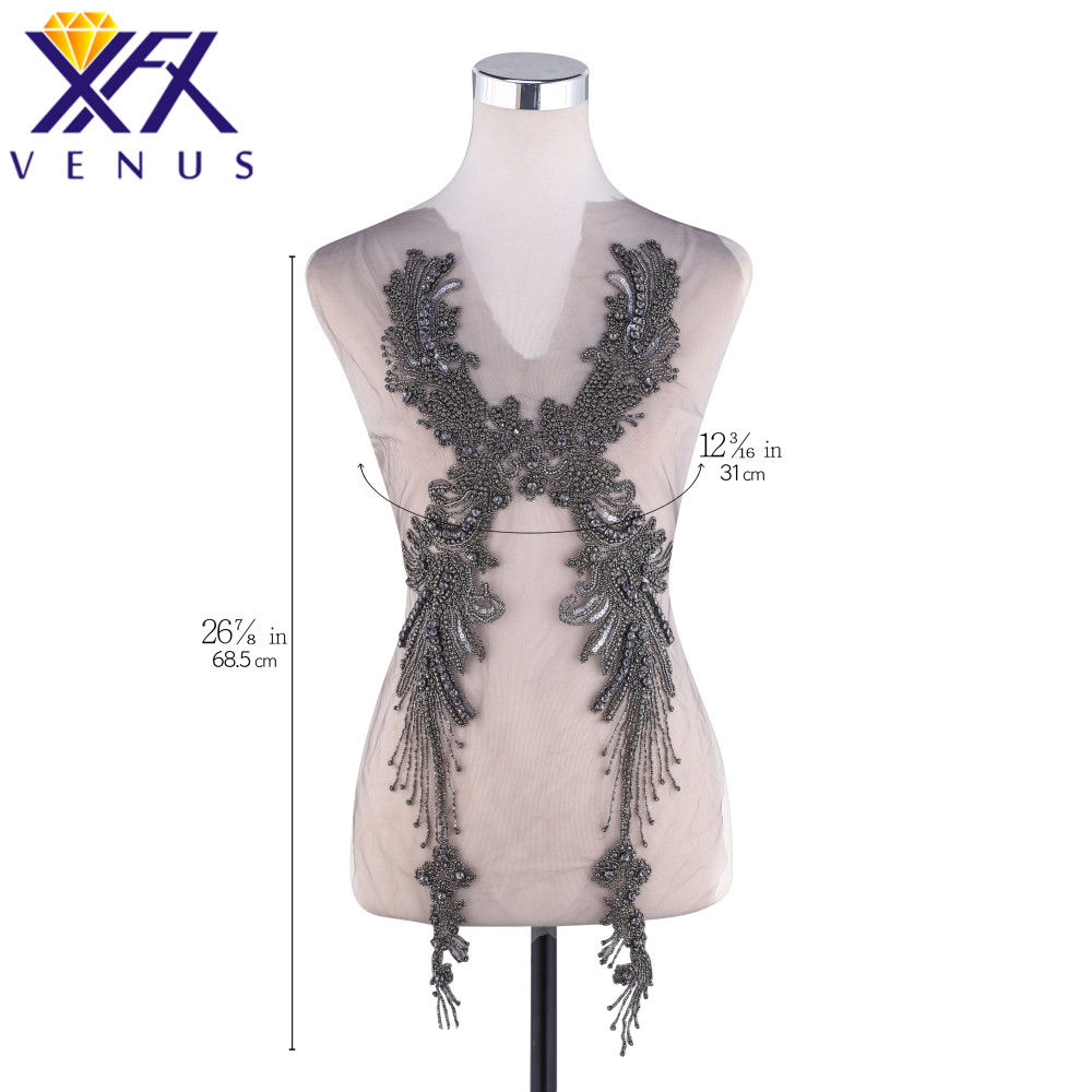 XINFANGXIU Hand Sewing On Rhinestone Applique with glass beads Clothes Patch Wedding Dress Trimming Costume Embellishment
